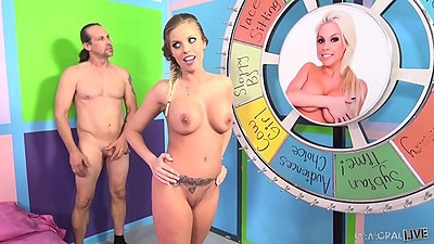 Charming girl with big juggs Britney Amber does blowjob with sucking some balls