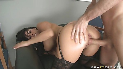 Doc is moaning while pumped in her office chair