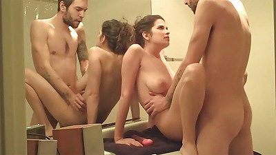 Sexy girlfriend with big tits fucked on the bathroom sink