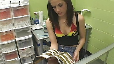 Hot babe goes to a weed pharmacy to get some drugs