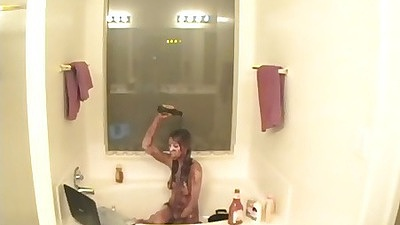 This wierd slut is pouring all kinds of food all over herself