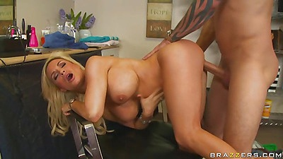 Diamond leaned over the hair doggy penetrated