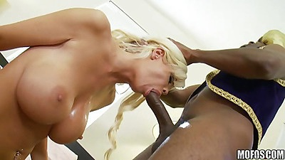 Huge black cock shuving this blondes head with cock