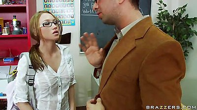 Sexy student gets brownie points for sucking cock