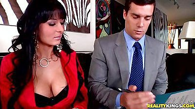 Big tits boss having a final interview