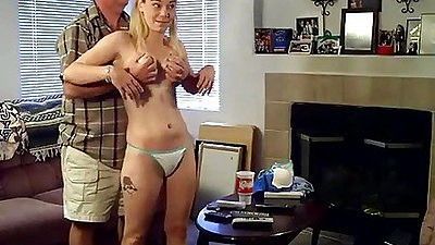Teen in her panties playing some Wii with old dude