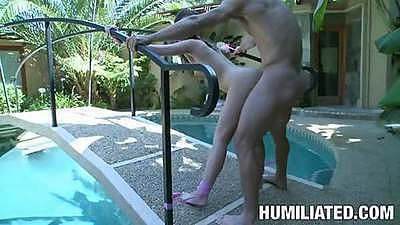 Lily Carer fucked and tied to the railing