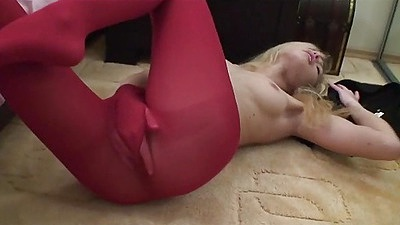 Teen playing in her red tights
