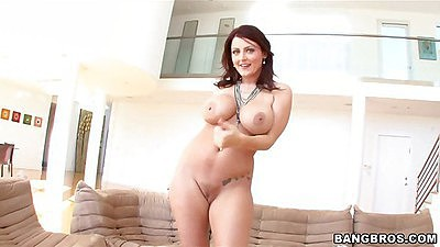 Sophie Dee touches her ass and tits