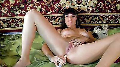 Milf gf with big tits and two dildos up her holes