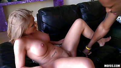 Big tits blodne babe spreading shaved pussy wide