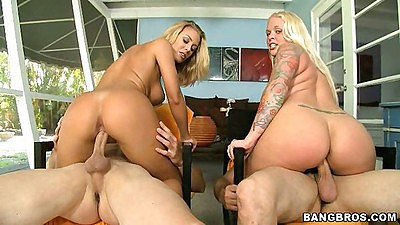 Angel Vain and Nicole Aniston riding some shaft