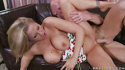 Milf with pulled down dress fucked sideways on sofa