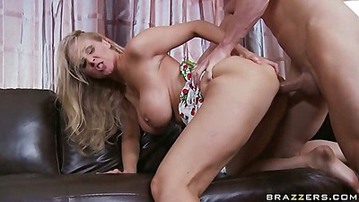Milf Julia fucked doggy style and sits on cock