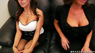 Big tits babes in the office chairs