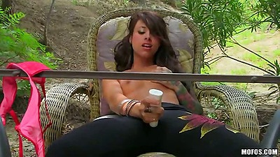 Small tits babe fucking around on front lawn