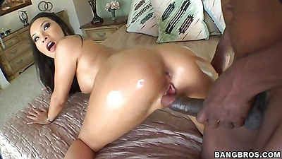 Doggy style asian fucking with large black cock