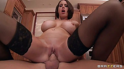 Milf McKenzie cowgirl and sideways pumping in kitchen