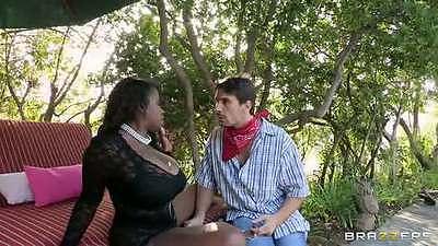 Big natural tits ebony babe Vanessa Blue outdoors