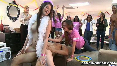 Reverse cowgirl at a bachelorette party with dancing bear