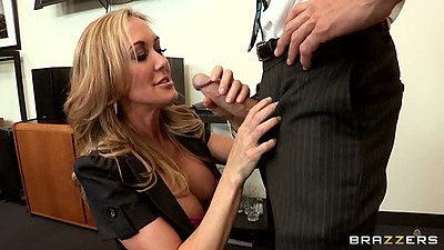 Big tits office whore Brandi Love sucking dick and titty fuck in office