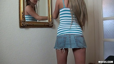 Hot jean miniskirt on petite teen Amanda Blake and upskirt undressing