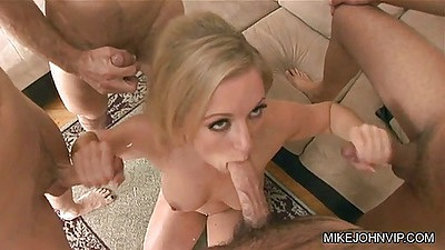 Group blowjob for natural busty blonde Dia Zerva