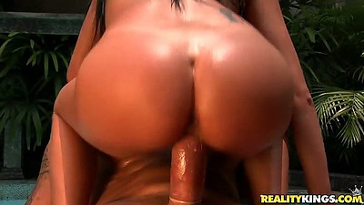 Awesome cock riding action wtih latina Barbarah by the pool