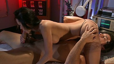 Big tits Alektra Blue in 69 position sucking cock and front penetration