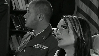 Uniformed men with Lisa Ann and her fantasy