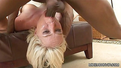 Reverse deep throat with Naomi Cruise getting throat gang banged