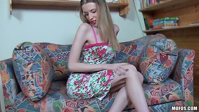 Angel Hott in her sex dress takes it off and reaches into panties