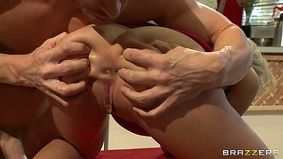 Spreading that gorgeous ass on Aubrey Addams and rear entry fuck