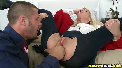 18 year old Carmen Monet fingered through ripped pants and sucks cock