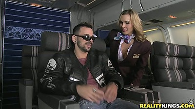 Party it up in the new business class with Tanya Tate and Veronica Avluv