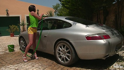 Outdoors nude car wash with Henessy washing a porsche