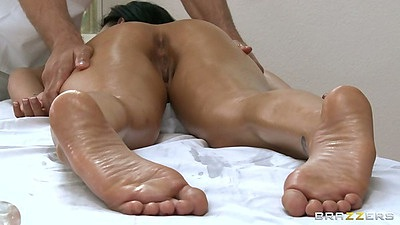 Nice oil ass massage with Eva Angelina on the table