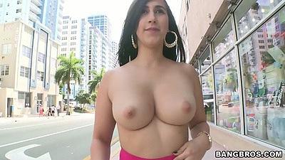 Big tits latina chonga Valerie Kay going topless on public street