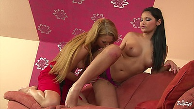 Antonia and Lana lesbian sluts with medium tits fingering cunt