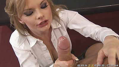 Blonde slut at the office suck cock in a white shirt