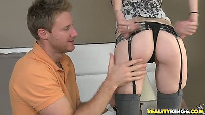 Skinny ass milf getting fingered by guy