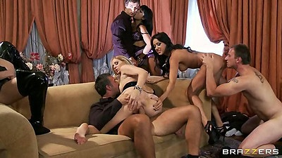 Jeanie Marie Sullivan and Julia Ann wih Breanne Benson in group sex party