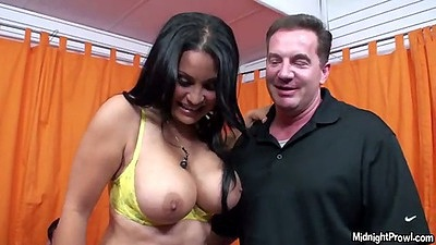 Big tits latina Sophia Lomeli shows her boobs and sucks dick while others watch