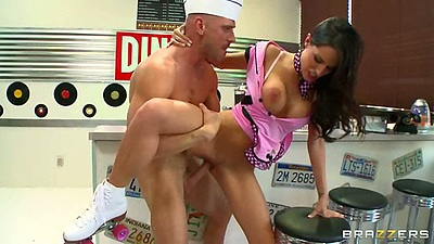 Standing fuck with waitress Kortney Kane in uniform half dressed in diner