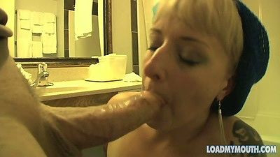 Blowjob from mature whore Vienna on her knees sucking dick