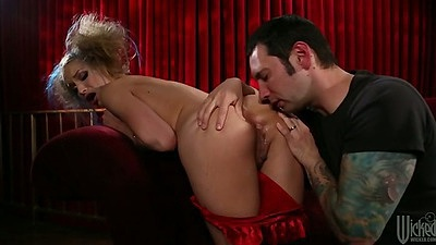 Ass licking nice round ass Alyssa Branch with fingering and blowjob