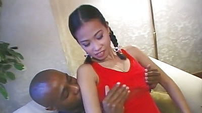 Asian Sheena East fingered and licked by black dude