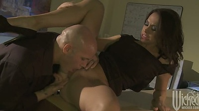 Chanel Preston pussy licked half dressed with blowjob and doggy style