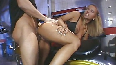 Doggy style close up sex with Csila Star spreading her ass