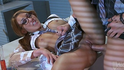 Office sex with half dressed chemistry specialist Jayden Lee